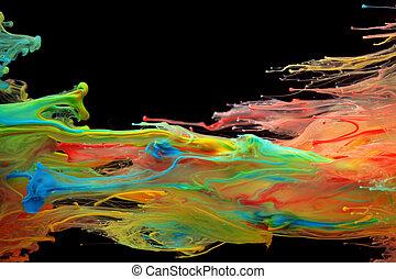 水, くるくる回る, によって, カラフルである, インク