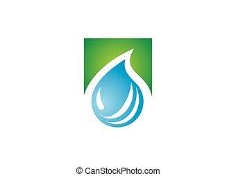 水 しぶき, エコロジー, ベクトル, ロゴ