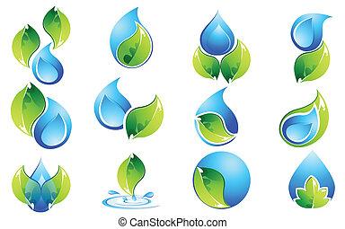水, そして, 葉, アイコン, セット