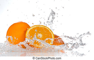 水, はねかけること, オレンジ