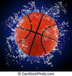 水, はねかけること, バスケットボールボール