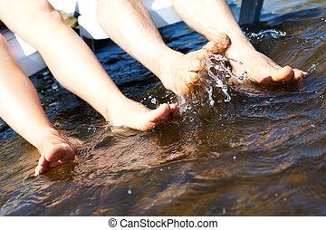 水, はねかけること, 足