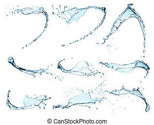 水, はねる, 背景, 隔離された, 高く, 決断, コレクション, 白