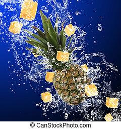 水, はね返し, パイナップル