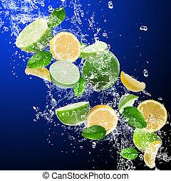 水, はね返し, レモン, ライム