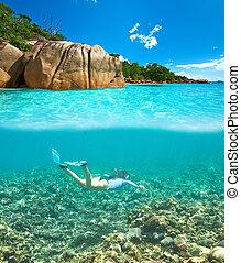 水, ゆとり, 女, マスク, snorkeling
