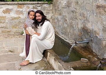 水, わずかしか, 井戸, 女の子, イエス・キリスト
