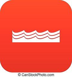 水, アイコン, 赤, デジタル