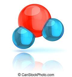 水, イラスト, 3d, 分子