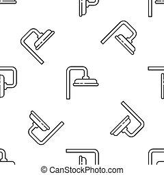 水, イラスト, seamless, 灰色, 低下, アイコン, ベクトル, 線, 隔離された, パターン, 頭, 流れること, 白, バックグラウンド。, シャワー