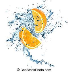 水, オレンジ