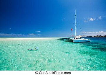 水, カタマラン, 浅い, 離れて, snorkeling