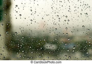 水, ガラス, 窓, 低下, 背景
