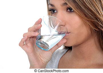 水 ガラス, 飲むこと, 女
