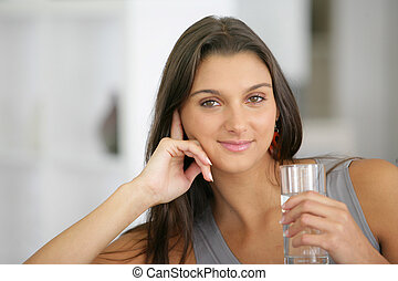 水 ガラス, 飲むこと, 女, 若い