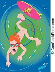 水, サーフィン, スポーツ, wipeout