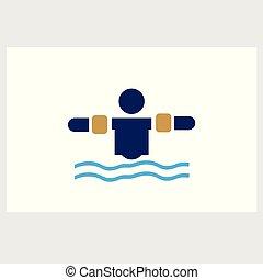 水, シルエット, 翼