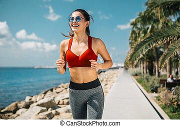 水, ジョッギング, ほっそりしている, 女の子, うれしい