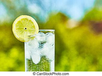 水, スライス, レモン, 光っていること