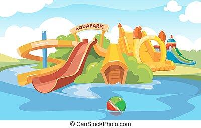 水, スライド, aquapark