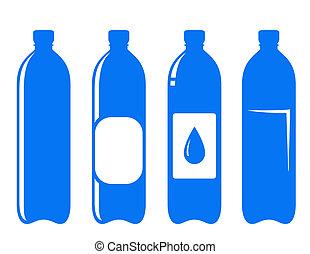 水, セット, びん