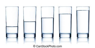 水, セット, ガラス, 満たされた