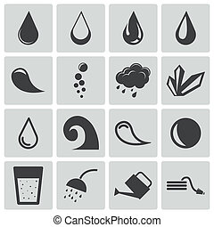 水, セット, 黒, ベクトル, アイコン