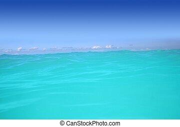 水, トルコ石, カリブ海, 波, 高く, 地平線