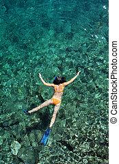 水, トロピカル, ゆとり, 女, snorkeling, 水晶