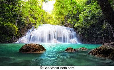水, トロピカル, 新たに, 滝, タイ, 自然, photography.