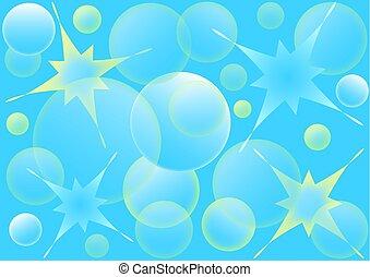 水, バックグラウンド。, 泡, 抽象的, イラスト