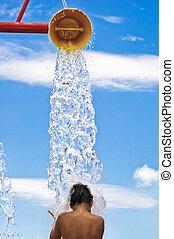 水, パッド, はね返し, 公園
