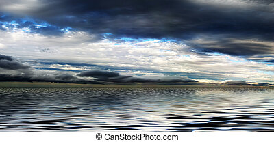水, パノラマ, 空, 曇り, の上