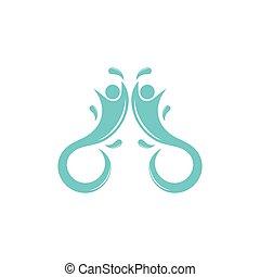水, ベクトル, シンボル, ロゴ, 幸せ, 公園, 子供