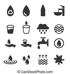 水, ベクトル, セット, アイコン