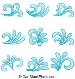 水, ベクトル, illustration., icons.