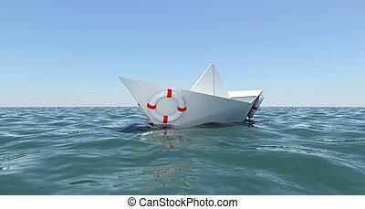 水, ペーパー, 海, 浮く, 白, ボート