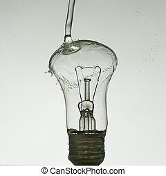 水, ライト, 作られた, はねる, 電球