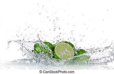 水, ライム, はね返し, 隔離された, 白