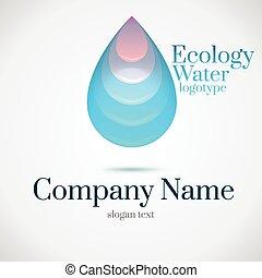 水, ロゴ, 低下, エコロジー
