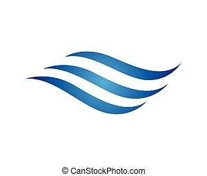 水, ロゴ, 波