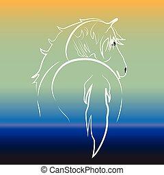 水, ロゴ, 馬, ベクトル, 白