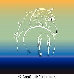 水, ロゴ, 馬