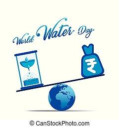 水, 世界, 概念, 日, ポスター