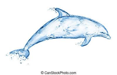 水, 作られた, イルカ, はねる, から