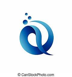 水, 信, 設計, q, 標識語, 標識語