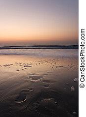 水, 先導, 足跡, 浜, 日没
