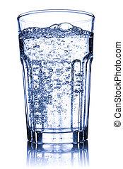 水, 光っていること, ガラス, 満たされた