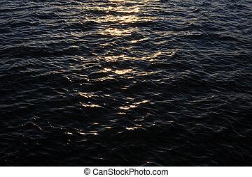 水, 光, 日落, 反映, 表面