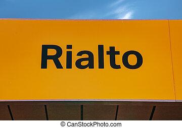 水, 公共汽車, 停止,  Rialto, 簽署
